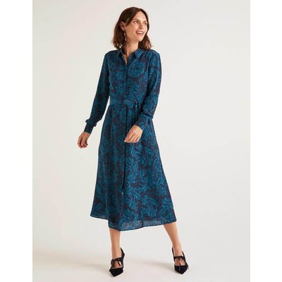Jemima Silk Shirt Dress Navy Women Boden, Navy
