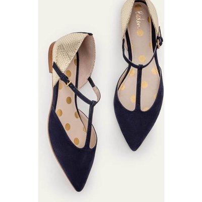 Sienna T-Bar Flats Navy Women Boden, Gold
