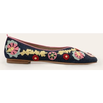 Laura Embroidered Flats Navy Women Boden, Navy