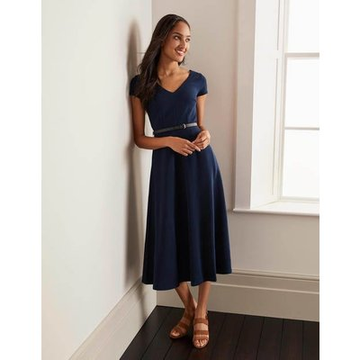 Belle V-neck Ottoman Dress Navy Women Boden, Navy