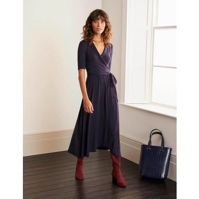 Lavinia Jersey Wrap Dress Navy Christmas Boden, Navy