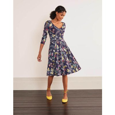 Clea Ponte Dress Navy and Maize, Heritage Bloom Women Boden, Navy and Maize, Heritage Bloom