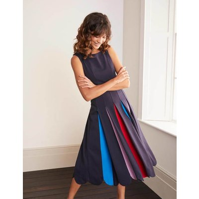 Allegra Ponte Pleated Dress Navy Women Boden, Navy