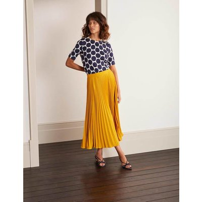 Kristen Pleated Skirt Yellow Women Boden, Yellow