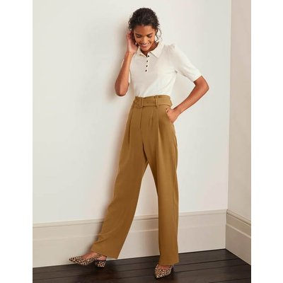 Powis Wide Leg Trousers Brown Women Boden, Camel