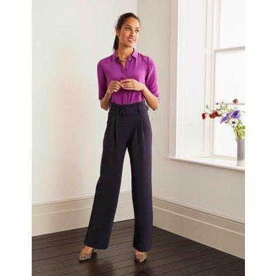 Powis Wide Leg Trousers Navy Women Boden, Navy
