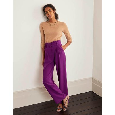 Powis Wide Leg Trousers Purple Women Boden, Purple