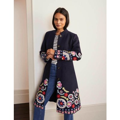 Riley Embroidered Coat Navy Christmas Boden, Multicouloured