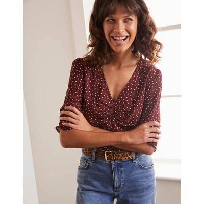 Jemima Ruched Top Brown Women Boden, Brown