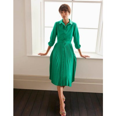 Alma Pleated Shirt Dress Green Women Boden, Green
