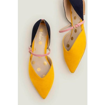 Maisy Pointed Flats Yellow Women Boden, Navy