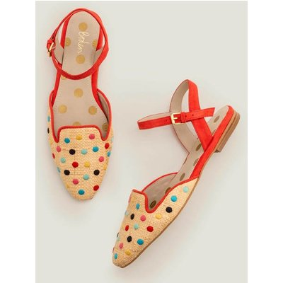 Miriam Raffia Flats Red Women Boden, Multicouloured