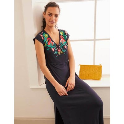 Marcia Embroidered Maxi Dress Navy Women Boden, Navy
