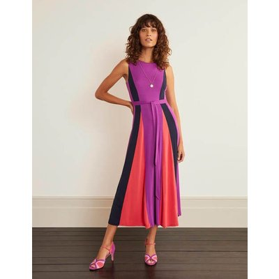 Gloria Jersey Midi Dress Jewel Purple/ Navy / Pop Peony Women Boden, Jewel Purple/ Navy / Pop Peony