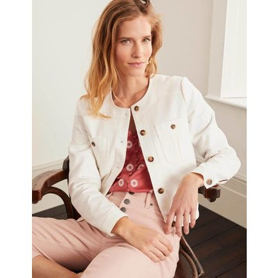 Paget Textured Crop Jacket Ivory Women Boden, Ivory