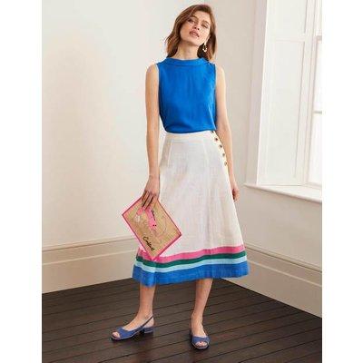 Willa Button Midi Skirt Ivory/Bold Blue Stripe Women Boden, Ivory/Bold Blue Stripe