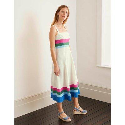 Willa Button Midi Dress Bold Blue and Iceberg Stripe Women Boden, Bold Blue and Iceberg Stripe
