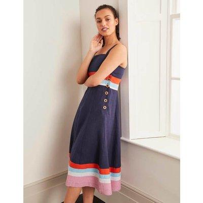 Willa Button Midi Dress Navy Women Boden, Navy