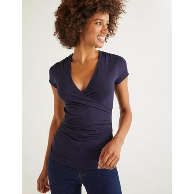 Short Sleeve Jersey Wrap Top Navy Women Boden, Navy