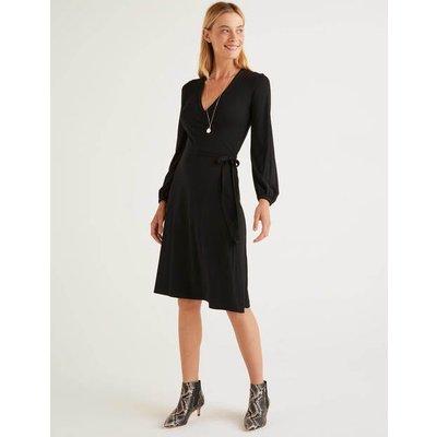 Elodie Jersey Wrap Dress Black Women Boden, Black
