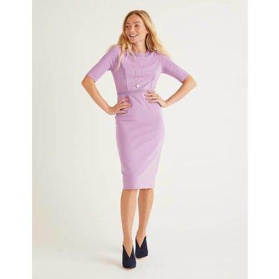 Kate Stitch Detail Ponte Dress Purple Women Boden, Purple