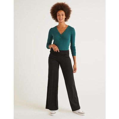 Wide Leg Jersey Trousers Black Women Boden, Black
