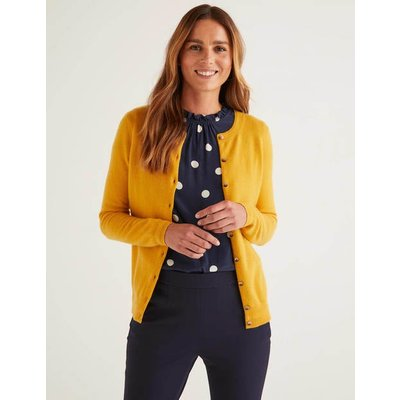 Cashmere Crew Cardigan Yellow Women Boden, Yellow