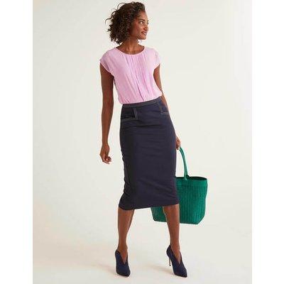 Sedley Topstitch Pencil Skirt Navy Women Boden, Navy