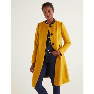 Christie Collarless Coat Yellow Women Boden, Yellow