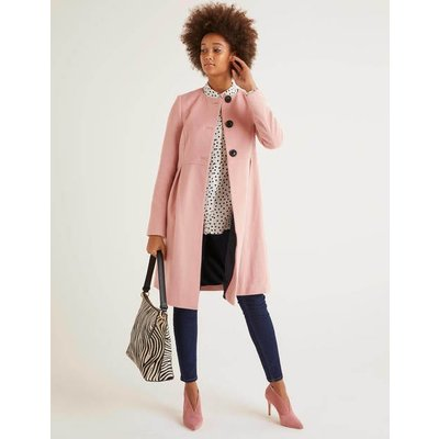 Christie Collarless Coat Pink Women Boden, Pink
