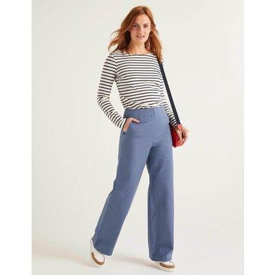 Greenwich Wide Leg Trousers Blue Women Boden, Blue