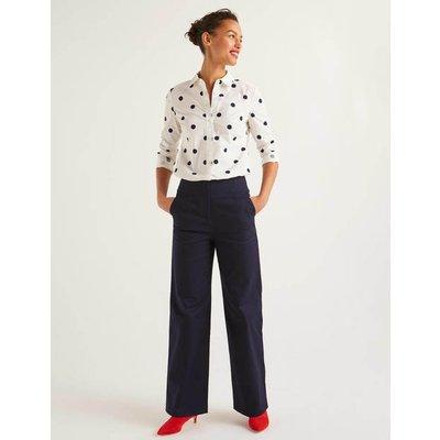 Greenwich Wide Leg Trousers Navy Women Boden, Navy