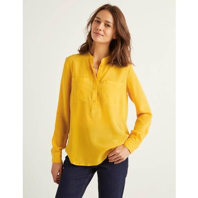 Silk Collarless Blouse Yellow Christmas Boden, Yellow