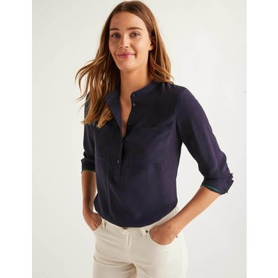 Silk Collarless Blouse Navy Women Boden, Navy