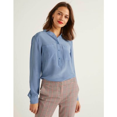 Silk Collarless Blouse Blue Christmas Boden, Blue