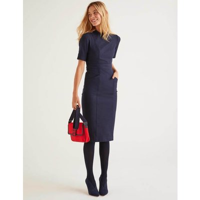 Louise Textured Dress Navy Women Boden, Navy