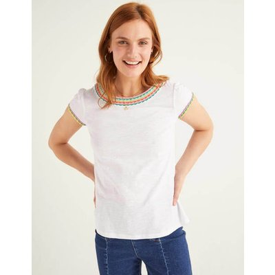 Sena Embroidered Jersey Top White Women Boden, Multicouloured