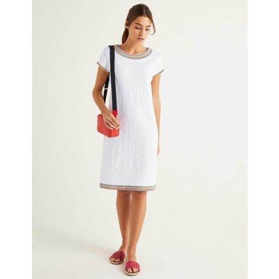 Sena Embroidered Jersey Dress White Women Boden, White