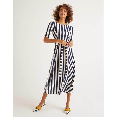 Cleo Belted Jersey Midi Dress Navy Women Boden, Ivory