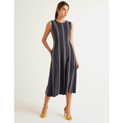 Eve Scallop Ponte Midi Dress Navy Women Boden, Navy