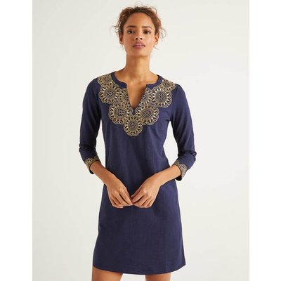 Eda Embroidered Jersey Tunic Navy Women Boden, Gold