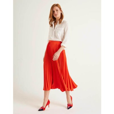 Kristen Pleated Skirt Orange Women Boden, Orange