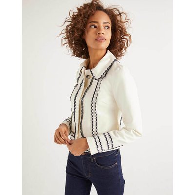 Agar Scallop Jacket Ivory Women Boden, Ivory