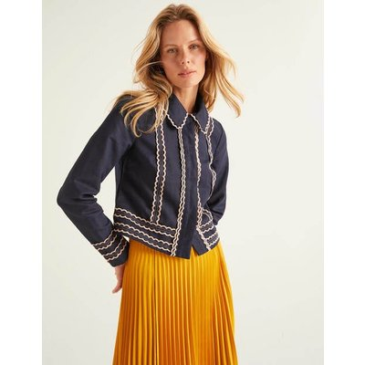 Agar Scallop Jacket Navy Women Boden, Navy