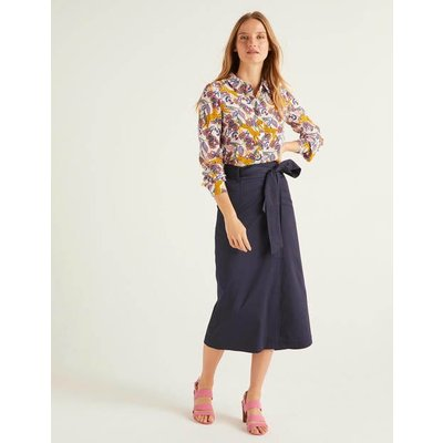 Pevensie Pencil Wrap Skirt Navy Women Boden, Navy