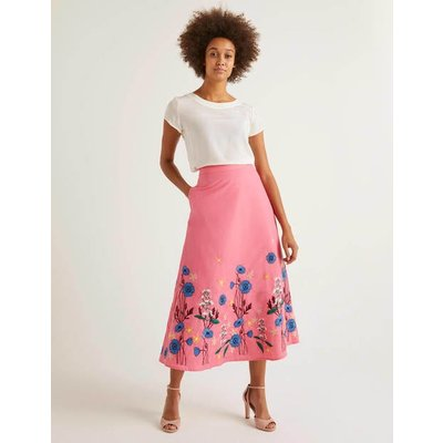 Arwen Embroidered Midi Skirt Pink Women Boden, Camel