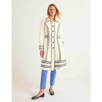 Agar Scallop Coat Ivory Women Boden, Ivory