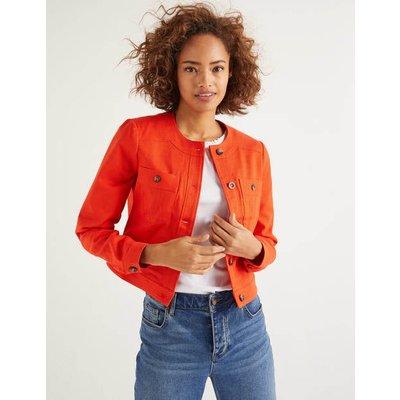 Paget Textured Crop Jacket Orange Women Boden, Orange