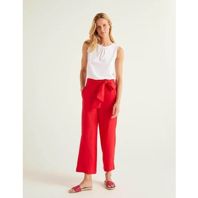 Weymouth Linen Trousers Red Women Boden, Red