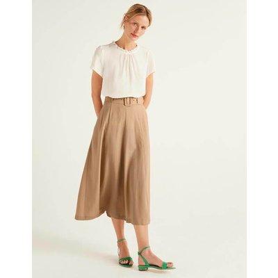 Poste Belted Midi Skirt Brown Women Boden, Camel